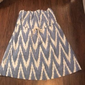 Strapless Ikat Print Dress with Rope Tie Detail